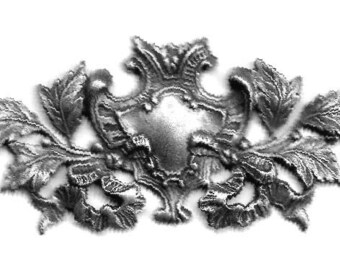 Ornate Silver Repousse Brass Stamping