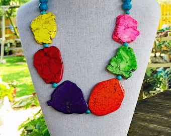 Colorful Slab Stone Necklace