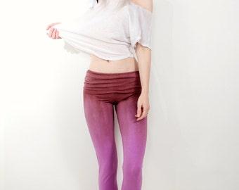 Purple Yoga Pants, Purple Pants, Lavender Yoga Pants, Yoga Pants, Tie Dye Yoga Pants, Ombre Yoga Pants, Handmade by OmBeautiful