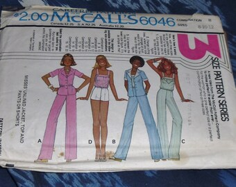 Vintage 1970s McCall's Pattern #6046 Comb. B Sizes 8-10-12 Separates