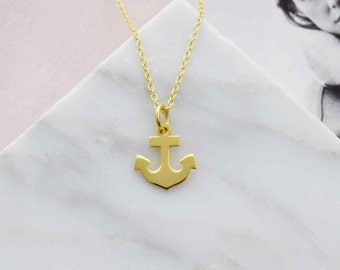 Gold anchor pendant necklace, anchor necklace, layering necklace, mom gift, bestfriend necklace, simple necklace, girlfriend necklace gift