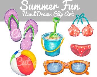 Summer Clip Art - Watercolor Clipart, Flip Flops, Beach Vacation, Digital Download, Beach Ball, DIY Craft Supplies, Hand Drawn