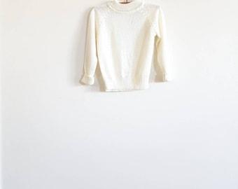 Vintage White Soft Knit Sweater
