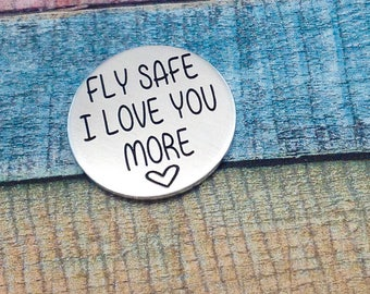 Fly Safe Coin, Flying Gift, Pilot Gift, Pilot coin, Love Token, fly safe pocket coin, gift for pilot, flight school gift, pilot graduation