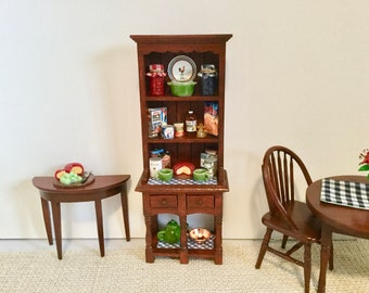 Food Pantry Hutch In Mahogany With Accessories For 112 Scale Dollhouse