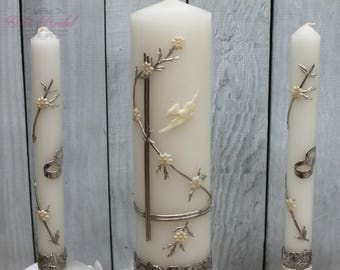 FAST SHIPPING!! Wedding Unity Candle Set with or without the Candle Holder, Wedding Candles, Unity Candles, Silver Unity Candles, Candle Set