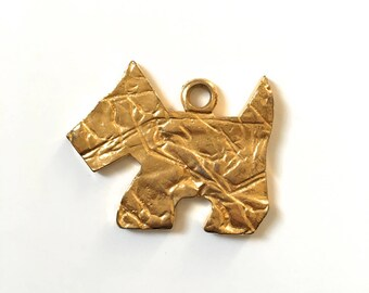 "Big dog ""westie"" gold metal pendant"