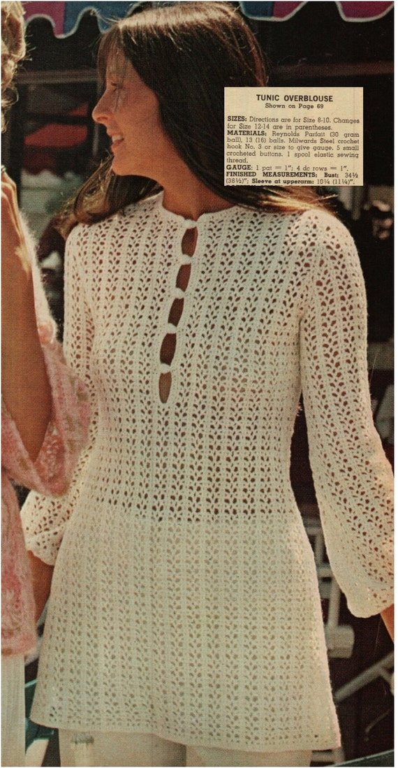 Crochet Dress Pattern Vintage 70s Crochet Tunic Top Crochet Mini