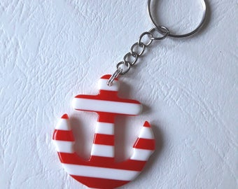 Key - anchor - striped red and white