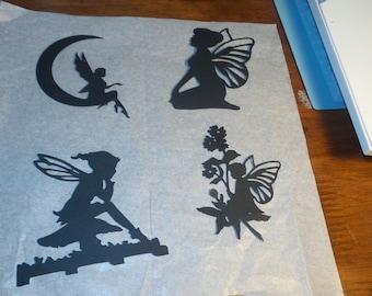 Die cut Fairy Silhouette,Fairy card stock cut outs, scrapbooking fairies, Fairy Silhouettes