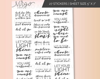 Positive Thoughts Planner Stickers - Daily affirmations, Inspirational quotes planner stickers  - Glossy/Matte planner stickers AF2