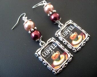 Coffee Earrings, Coffee Jewelry, Latte Earrings, Latte Jewelry, Java Earrings, Java Jewelry, Starbucks, Food Earrings, Food Jewelry