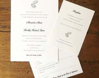 Oyster Shell Wedding Invitation Suite (Printable File)