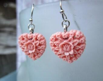 Ornate pink resin heart earrings