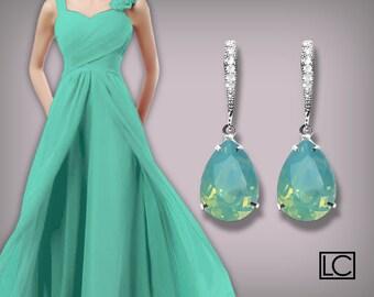 Pacific Opal Crystal Earrings Aqua Mint Rhinestone Earrings Sterling Silver CZ Mint Opal Swarovski Opal Bridesmaid Earrings Wedding Jewelry