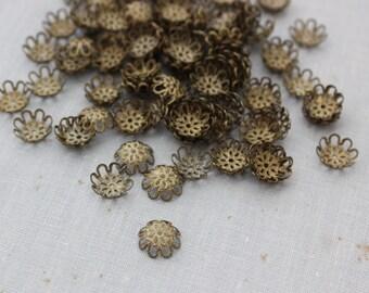 100 pc 9mm Antique Bronze Filigree Bead Caps