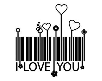 DIY Barcode I Love You Vinyl Decal, Laptop Decal, Car Window Vinyl Decal, iPad Vinyl Decal, Cell Phone Decal, Stainless Steel Mug Decal