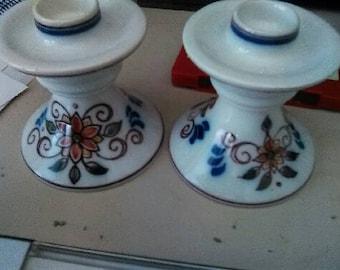 Vintage Makkum Tichelaar Candlestick Holders