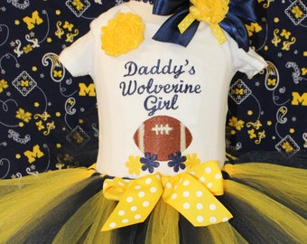 Michigan Wolverines,Michigan, Wolverines, daddy, bodysuit, baby girl clothes, baby clothes, baby shower gift, new baby gift, blue, yellow