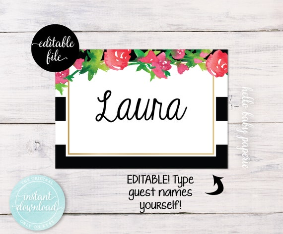 Editable name tags guest name tags baby shower name tags solutioingenieria Choice Image