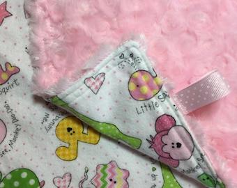 Pink Rosebud Minky Baby Girl Lovey - Baby Girl Security Blanket - Baby Novelty Print Minky Lovey