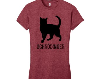 Schrodinger's Cat Women's Science Shirt T-Shirt Science Geekery Gifts for Teachers Gift Mediocre Shirt Gifts Funny Tshirts Typography Tshirt