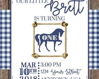 Personalized Pony/Horse/Western Birthday Party Invitation -PRINTABLE jpg Digital Download