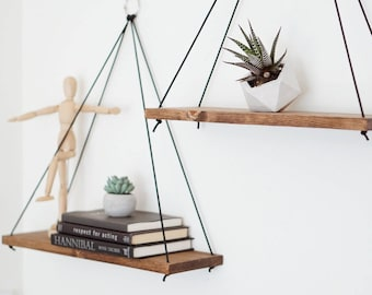 Hanging Shelves / Set of 2 Large Shelves / Floating Shelves / Swing Shelves
