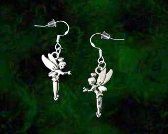 Tinkerbell Earrings..Disney Fairy Earrings..Silver Fairy Earrings..Fairy Jewelry For Her..Peter Pan Jewelry..Magical Jewelry.Fantasy Jewelry