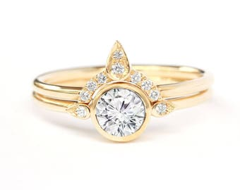 Simple Solitaire Engagement Ring, 0.5 Carat Diamond Kiss Plus Ring Set Harmon Thin Gold Band Diamond RIng, Delicate Thin Ring