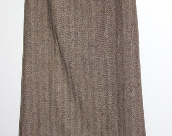 FREE SHIPPING Vintage Tweed Brown Wool Lined Long Skirt