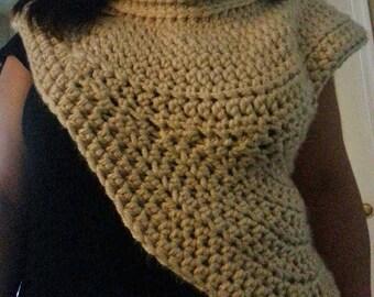 Katniss inspired Hunter Cowl Scarf-Sweater vest in crochet