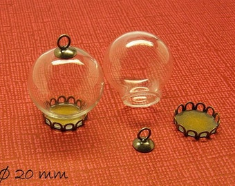 2 PCs hollow beads with clear Cap Ø 20 mm
