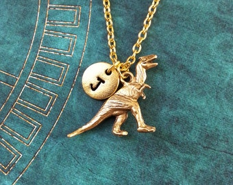 Dinosaur Necklace SMALL T-Rex Necklace Personalized Jewelry Dinosaur Gift Tyrannosaurus Necklace Dinosaur Jewelry Gold Dinosaur Pendant