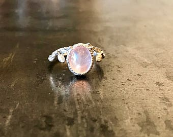 Sterling Silver  pink quartz artisan Ring 8 Handmade Jewelry