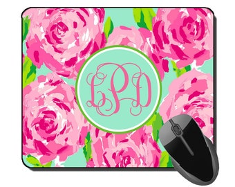 Lilly Pulitzer Inspired Monogrammed Mousepad - Custom Mousepad - Monogram Mousepad