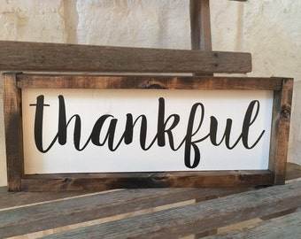 Thankful Framed Wood Sign