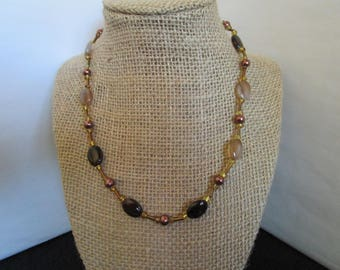 Brown Pearl & Assorted Brown Glass Beaded  Necklace
