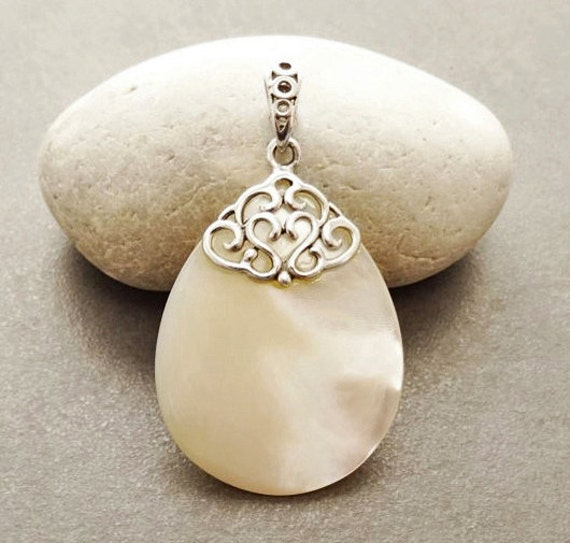 MOP Silver Pendant - Sterling Silver - Filigree Pendant - Teardrop - Mother of Pearl - shabby chic pendant - Boho Pendant - Vintage Pendant