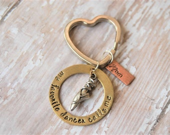 Ballet Dancer Keychain - My Favorite Dancer Calls Me Mom - Grandma - Mommy - Nana - Daddy - Dad - Mother's Day - Granddaughter - Daughter