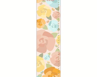 Growth Chart, Rose Garden Growth Chart, Floral Growth Chart, Pink Growth Chart, Custom Growth Chart, Canvas Growth Chart