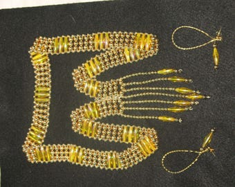 Vintage Amber Bead Necklace and Earring Set