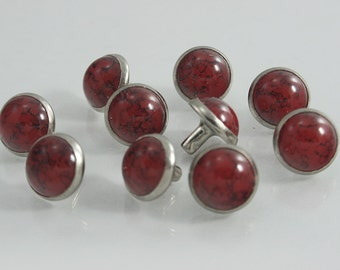 10 sets Red Turquoise Synthetic Gem Rivets Studs Decorative Rivets 11 mm. TQ RR11 WY