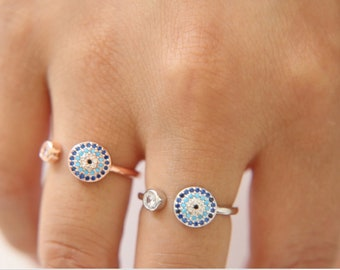 Genuine Gold Plated Greek Turkish Cubic Zircon Evil Eye Ring- (Re-sizeable)