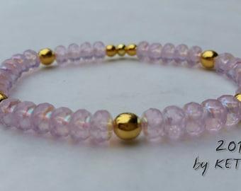 Mystic Light Rose Bracelet, Seed Bead Bracelet, Rondelle Bracelet