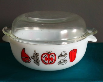 Phoenix pyrex bbq  pattern casserole dish, vintage pyrex red and black