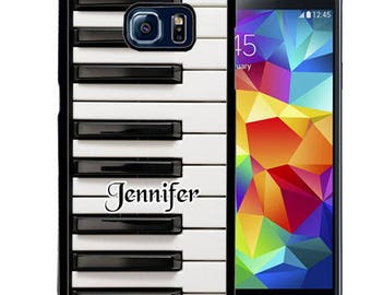 Personalized Rubber Case For Samsung S5, S6, S6 edge, S6 Edge Plus, S7, S7 Edge,  8, 8 plus , S9, S9+- Piano Keys Music