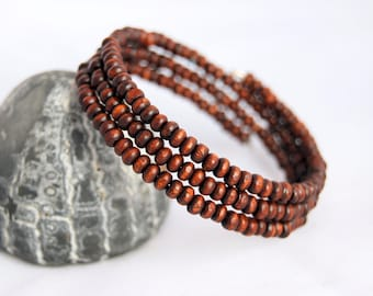 Wrapped bracelet with brown wooden beads, gift for her, teak wooden bead jewelry,wrapped jewelry, wooden jewelry, brown bracelet,moders day