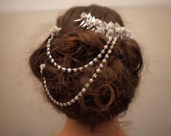 Bridal leaf and rose hair chain, Bridal floral hair chain, bridal floral hair comb, wedding hair comb, Bridal hair chain, Wedding hair chain