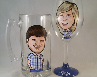 Custom Bride and Groom Toasting Glasses - Fun - The Original Caricature Wine Glasses (tm) - Hand Painted  Wine Glasses